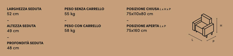 Poltrona Relax Mary Zaggia Salotti - misure
